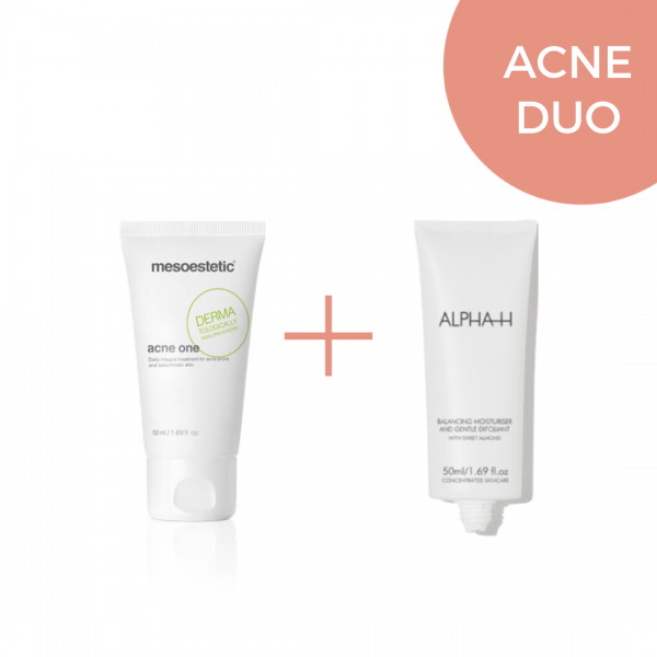 Acne duo nachtcremes. Acne one mesoestetic en balancing moisturizer voor het verminderen van acne. Beste nachtcremes voor acne